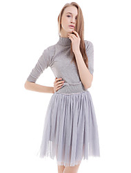 casuale solido vestito largo delle donne boutique s / giorno, girocollo sopra poliestere ginocchio
