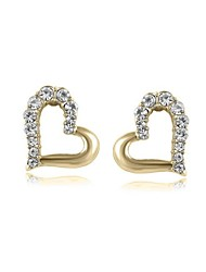cheap -Luxury Stud Earrings for Women Vintage Crystal Heart Stud Earrings Fashion Jewelry Accessories Silver Plated