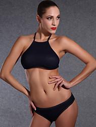 Tri't Forward  Women's Halter Bikini,Lace Up Nylon Black