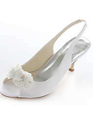 Women's Summer Stretch Satin Wedding Party & Evening Dress Stiletto Heel Crystal Satin Flower White