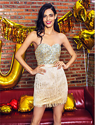 cheap -Sheath / Column Sweetheart Short / Mini Satin Sequined Cocktail Party / Homecoming / Prom / Holiday Dress with Beading Sequin by TS