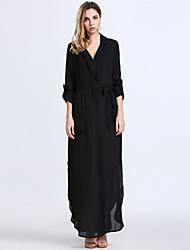 Mulheres Vestido Solto Trabalho / Casual Sólido Maxi Decote em V Profundo Algodão / Poliéster / Nylon