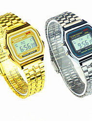 cheap -Men's Women's Couple's Dress Watch Digital Stainless Steel Band Silver Gold Strap Watch
