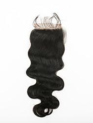 abordables -18inch Noir Naturel (#1B) Ondulation naturelle Cheveux humains Fermeture Brun roux Dentelle Suisse 250g gramme Moyenne Cap Taille