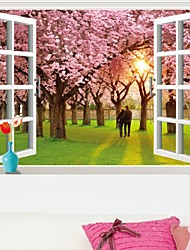 cheap -Wall Sticker  Romantic Sunset Landscape Cherry Tree 3D Fake Window Stickers Wall Decor Wall Stickers For Kids Rooms