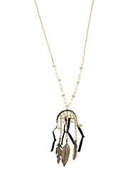 Femme Pendentif de collier Collier Y Collier de perles Plume Perle Agate Molleton Alliage Blanc Rouge Bleu Bijoux PourSoirée Quotidien