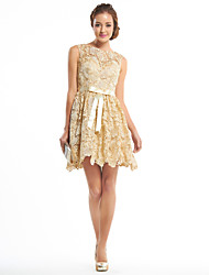 A-Line Scoop Neck Short / Mini Lace Cocktail Party Homecoming Prom Dress with Lace by TS Couture®