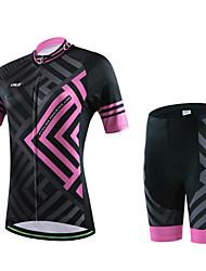economico -Maglia con pantaloncini da ciclismo Per donna Per uomo Unisex Maniche corte BiciclettaAbbigliamento a compressione Pantaloncini imbottiti
