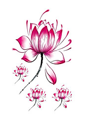 abordables -Halloween 1pcs etiquetas engomadas del tatuaje de loto flowerwaterproof