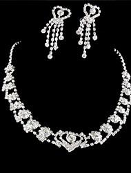 baratos -Mulheres Conjunto de jóias Brincos Colares - Prateado Para Casamento Festa Ocasião Especial Aniversário Noivado Presente