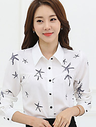 Women's Lady Star Print Solid Long Sleeve Plus Size Shirt