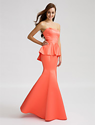 cheap -Mermaid / Trumpet Strapless Floor Length Satin Bridesmaid Dress with Sash / Ribbon by LAN TING BRIDE®