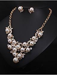 Women's European Style Luxury Fashion Imitation Pearl Rhinestone Wedding Banquet Bridal Gift  Necklace Earring Set
