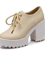 cheap -Women's Shoes Leatherette Spring / Fall Chunky Heel / Platform Lace-up White / Black / Beige