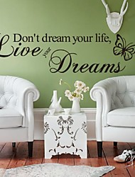 """Word Live Your Dream Butterfly Quote Room Decor Home Decor Art Removable Decal Wall Sticker"""