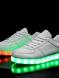 Недорогие -Для женщин Для мужчин Мальчики Удобная обувь Синтетика Весна Лето Осень Зима Атлетический Повседневные Шнуровка LED На плоской подошве