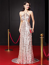 cheap -Sheath / Column Halter Sweep / Brush Train Sequined Prom / Formal Evening Dress with Beading Sequin by TS Couture®