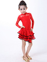 cheap -Latin Dance Dresses Children's Performance Lace Lace 1 Piece Black / Red