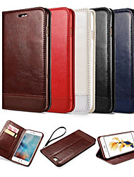 cheap -Case For Apple iPhone X iPhone 8 iPhone 6 iPhone 6 Plus Card Holder Wallet with Stand Flip Magnetic Full Body Cases Solid Color Hard PU
