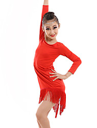abordables -Danse latine Robes Enfant Utilisation Spandex Fibre de Lait Gland Robe