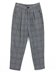 abordables -Mujer Vintage Corte Ancho Vaqueros Pantalones - A Cuadros