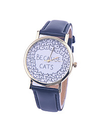 cheap -Unisex BECAUSE CATS Style Watch/Vintage Watch/Ladies Watch/ Women Premium Faux Leather Wristwatch Cool Watches Unique Watches Strap Watch
