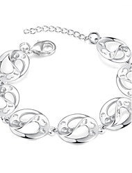 cheap -Lureme® Romantic Style Silver Plated Oval Carved Heart Charm Bracelets for Women
