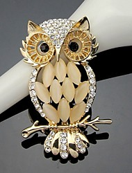 cheap -Women's Brooches Cute Work Cute Style Fashion Crystal Cubic Zirconia Alloy Owl Gold Jewelry For Wedding Party Special Occasion