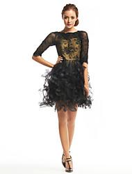 Недорогие -TS couture® коктейль платье Онлайн Бато короткий / мини-шнурок / тюль с кружевом