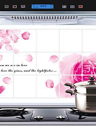 adesivi murali cucina rimovibile oilproof con rosa rossa acqua stile casa resistente arte decalcomanie