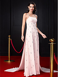 A-Line Spaghetti Straps Court Train Chiffon Formal Evening Dress with Beading Crystal Detailing by TS Couture®