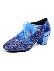 baratos -Mulheres Sapatos de Dança Moderna / Sapatos de Salsa Renda Sandália Flor de Cetim Salto Robusto Não Personalizável Sapatos de Dança Azul