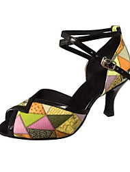 "cheap -Women's Latin Salsa Leatherette Sandal Practice Beginner Professional Indoor Performance Stiletto Heel Yellow 2"" - 2 3/4"" Non Customizable"