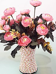 2 Branches Vintage Tea Rose with Vase Artificial Flowers Home Decoration