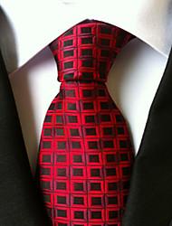 cheap -New Red Black plaid Classic Formal Men's Tie Necktie Wedding Party Gift TIE0056