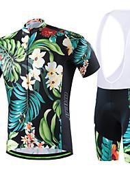 abordables -cheji® Hombre Manga Corta Maillot de Ciclismo con Shorts Bib - Azul Bicicleta Pantalones Cortos Acolchados Pecheros/Mallas Largas Con