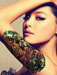 Carp Waterproof Flower Arm Temporary Tattoos Stickers Non Toxic Glitter