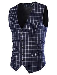 Men's Sleeveless Regular Blazer , Acrylic / Polyester Print / Striped k129