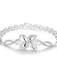 Lureme® Charming Silver Plated Leaf Pave Zircon Link Chain Bracelets for Women