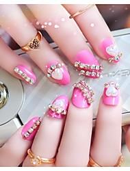 baratos -24pcs rosa inlay vermelho dicas jóia de unhas em forma de coração