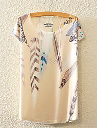baratos -Mulheres Camiseta Fofo Activo Flor, Floral Algodão