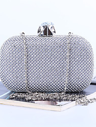 Women Bags All Seasons Polyester Evening Bag with Crystal/ Rhinestone for Wedding Event/Party Formal Office & Career Gold Black Silver
