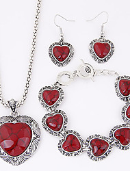 cheap -Women's European Exotic Fashion Imitation Turquoise Heart Necklace Earrings Bracelet Set