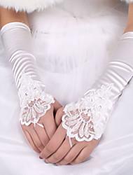 preiswerte -Seide Elastischer Satin Ellenbogen Länge Handschuh Brauthandschuhe With Schleife