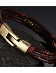 cheap -Leather Woven  Brass Buckle Men Bracelet Christmas Gifts