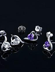 cheap -2016 Korean Unisex 925 Silver Sterling Silver Jewelry Earrings AAA Zircon Heart Stud Earrings 1PairImitation Diamond Birthstone