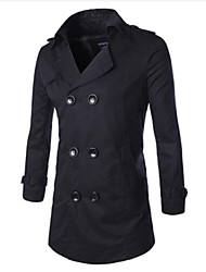 cheap -Men's Long Sleeve Regular Trench coat , Cotton Solid double Breasted
