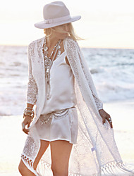 cheap -Women's Bandeau Cover-Ups , Tassels One-Pieces Lace / Polyester White