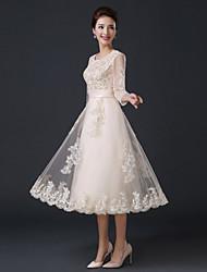 cheap -Formal Evening Dress A-line Jewel Tea-length Satin / Tulle with Ruffles
