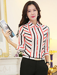 cheap -Women's Contrast Color Striped Plus Size Chiffon Shirt